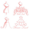 bridal wedding boutique gown logo design set vector image vector image