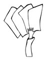 cartoon hand holding empty blank paper or card vector image vector image