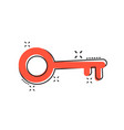cartoon key icon in comic style unlock sign vector image