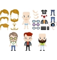 Caucasian Male Hipster Avatar set vector image
