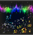 christmas card with polar lights vector image