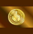 coin crypto gold currency humor logo vector image vector image