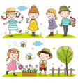 Collection of happy kids outdoor in spring season vector image vector image