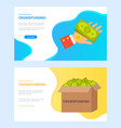 crowdfunding money on hand and carton box web vector image vector image