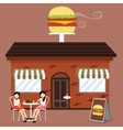 customer in front burger shop fast food vector image vector image