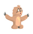 cute cartoon surprised sloth character sitting on vector image vector image