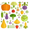 different vegetables in cartoon style vector image vector image