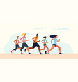 diverse group runners in a marathon vector image