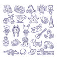drawing vintage collection of toys vector image vector image