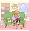 Family Reading Cartoon vector image vector image