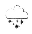 figure cute cloud with snow and cold weather vector image vector image