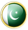 flag of pakistan on round badge vector image vector image