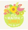 fruit summer label vector image vector image
