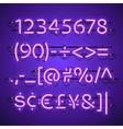 Glowing Neon Violet Numbers vector image vector image