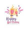 happy birthday logo design colorful creative vector image