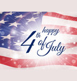 Happy fourth july poster with flying flag of usa