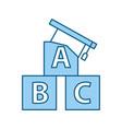 hat graduation with alphabet blocks vector image