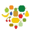 Heart of fruits pixel art i vector image vector image
