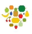 Heart of fruits pixel art i vector image