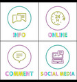 internet functions round colorful linear icons set vector image vector image