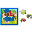 jigsaw puzzle pieces for farmer on the farm vector image vector image