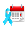 Light blue awareness ribbon and calendar vector image vector image