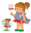 little girl holding in one hand decorative vector image
