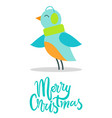 merry christmas greeting card tiny bird earpieces vector image vector image