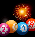 New years 2018 bingo lottery balls and fireworks vector image