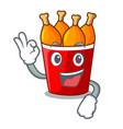 okay fried chicken in red bucket cartoon vector image vector image
