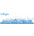 Outline Wellington skyline with blue buildings vector image vector image