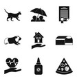 pet icons set simple style vector image vector image