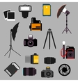 Photographic equipment and devices flat icons vector image