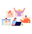 positive support woman work online good gestures vector image vector image