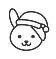 rabbit wearing santa hat outline icon editable vector image vector image