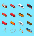 rail road isometric elements vector image vector image