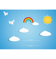 Rainbow clouds birds and sun toys vector | Price: 1 Credit (USD $1)