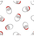 seamless pattern with falling heads santa claus vector image