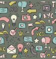 seamless pattern with line icons social networks vector image vector image
