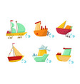 set colorful wooden ships with cute faces vector image vector image