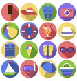 Set of circles icons Flat travel objects vector image vector image