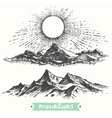 Sketch sunrise mountains engraving drawn vector image