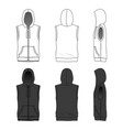 sleeveless hoody with zipper vector image vector image