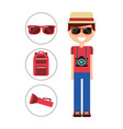 smiling man travel vacation with photographic vector image