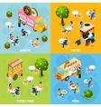 Street Food Isometric 4 Icons Square vector image