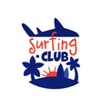 surfing club logo surf retro badge with palms vector image vector image