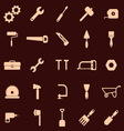 Tool icons on red background vector image