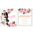 Wedding cartoon invitation card in luxury and mode vector image vector image