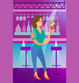 woman drinking cocktail in club nightlife vector image vector image