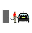 worker on gas station fill machine with fuel vector image